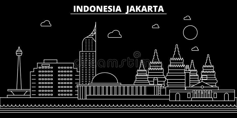 Het silhouethorizon van Djakarta De vectorstad van Indonesië - van Djakarta, Indonesische lineaire architectuur, gebouwen De reis stock illustratie