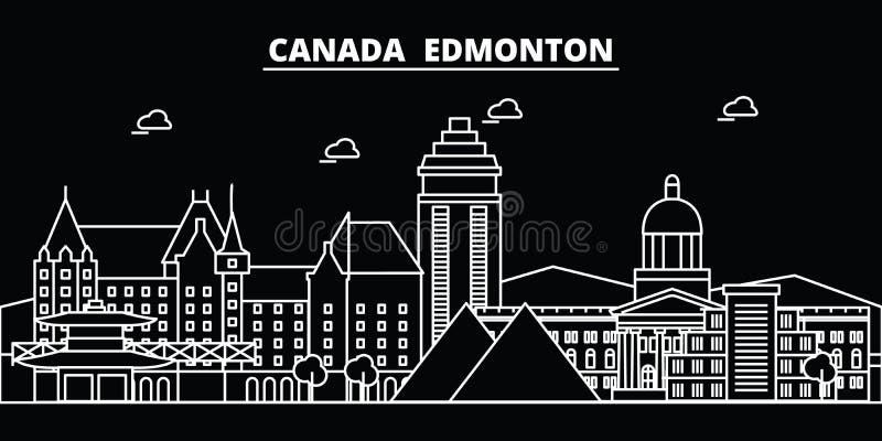 Het silhouethorizon van Edmonton De vectorstad van Canada - van Edmonton, Canadese lineaire architectuur, gebouwen De reis van Ed stock illustratie