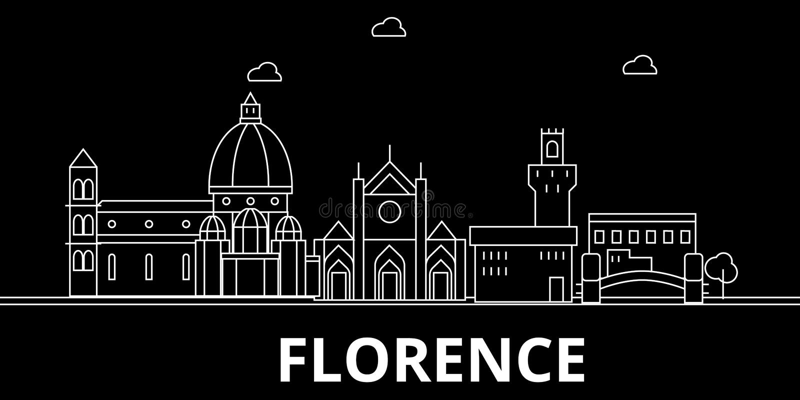 Het silhouethorizon van Florence De vectorstad van Italië - van Florence, Italiaanse lineaire architectuur, gebouwen De reis van  stock illustratie