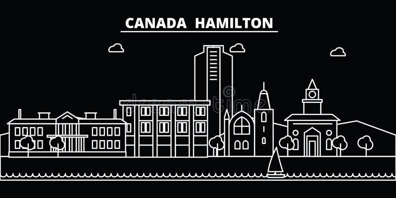 Het silhouethorizon van Hamilton De vectorstad van Canada - van Hamilton, Canadese lineaire architectuur, gebouwen De reis van Ha royalty-vrije illustratie