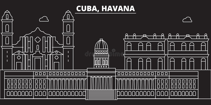 Het silhouethorizon van Havana De vectorstad van Cuba - van Havana, Cubaanse lineaire architectuur, gebouwen De lijnreis van Hava vector illustratie