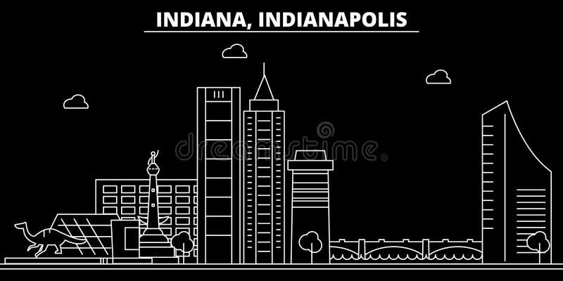 Het silhouethorizon van Indianapolis De V.S. - De vectorstad van Indianapolis, Amerikaanse lineaire architectuur, gebouwen indian stock illustratie