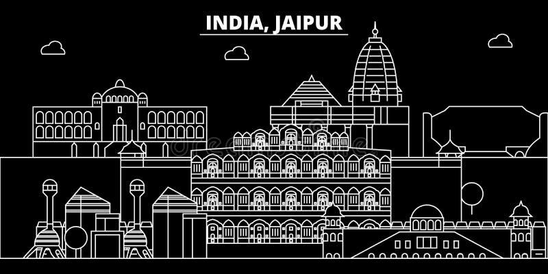 Het silhouethorizon van Jaipur De vectorstad van India - van Jaipur, Indische lineaire architectuur, gebouwen De reisillustratie  vector illustratie