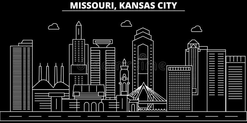 Het silhouethorizon van Kansas City De V.S. - De vectorstad van Kansas City, Amerikaanse lineaire architectuur, gebouwen De stad  royalty-vrije illustratie