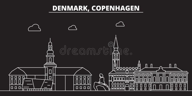 Het silhouethorizon van Kopenhagen De vectorstad van Denemarken - van Kopenhagen, Deense lineaire architectuur, gebouwen kopenhag royalty-vrije illustratie