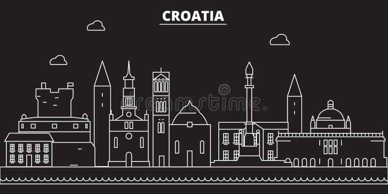Het silhouethorizon van Kroatië De vectorstad van Kroatië, Kroatische lineaire architectuur, de illustratie van de buildinglinere royalty-vrije illustratie