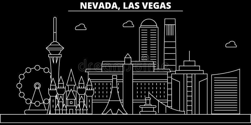 Het silhouethorizon van Las Vegas De V.S. - De vectorstad van Las Vegas, Amerikaanse lineaire architectuur, gebouwen De reis van  royalty-vrije illustratie