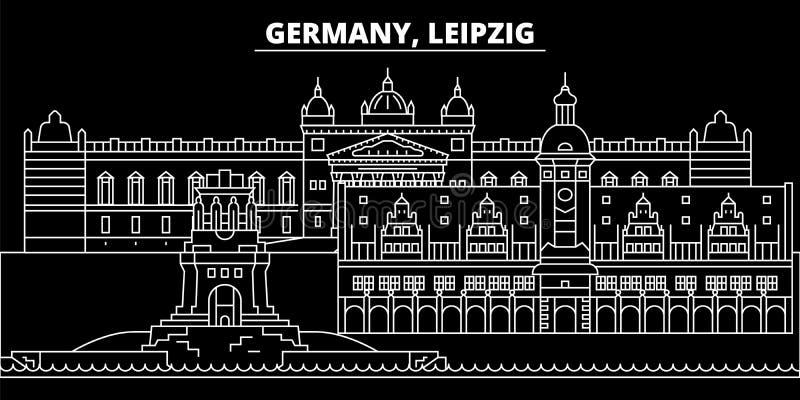 Het silhouethorizon van Leipzig De vectorstad van Duitsland - van Leipzig, Duitse lineaire architectuur, gebouwen De reis van Lei stock illustratie