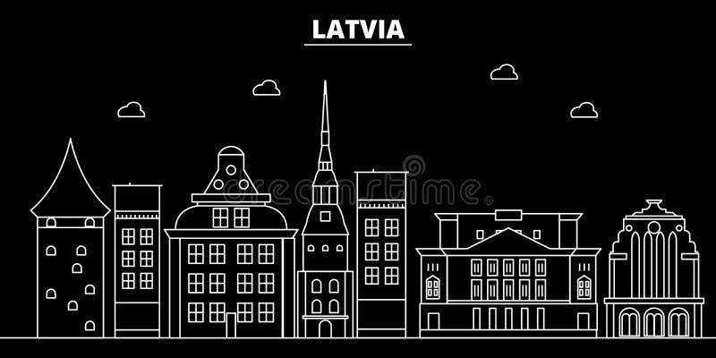 Het silhouethorizon van Letland, vectorstad, Letse lineaire architectuur, gebouwen De reisillustratie van Letland, overzicht stock illustratie