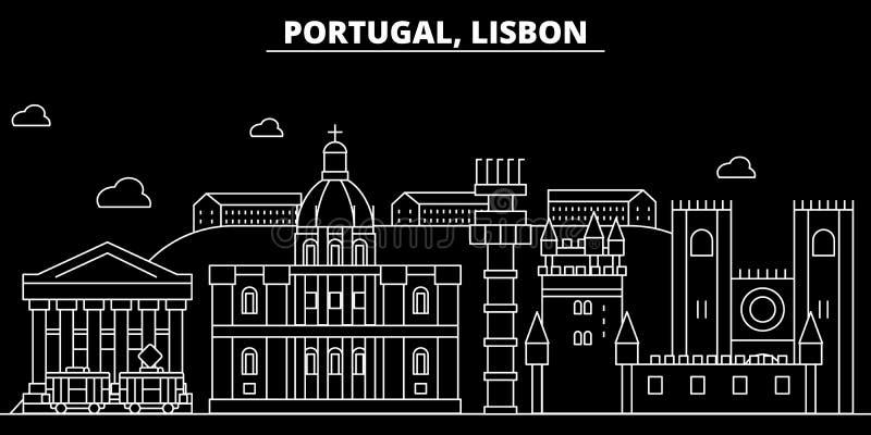 Het silhouethorizon van Lissabon De vectorstad van Portugal - van Lissabon, Portugese lineaire architectuur, gebouwen De reis van royalty-vrije illustratie