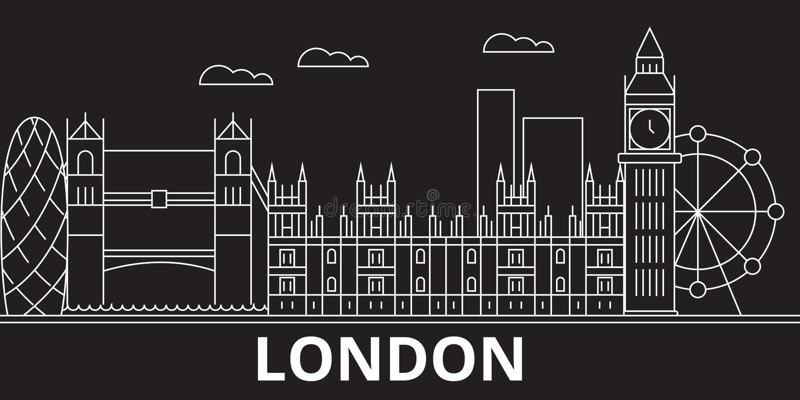 Het silhouethorizon van Londen De vectorstad van Groot-Brittannië - van Londen, Britse lineaire architectuur, gebouwen De Reis va stock illustratie