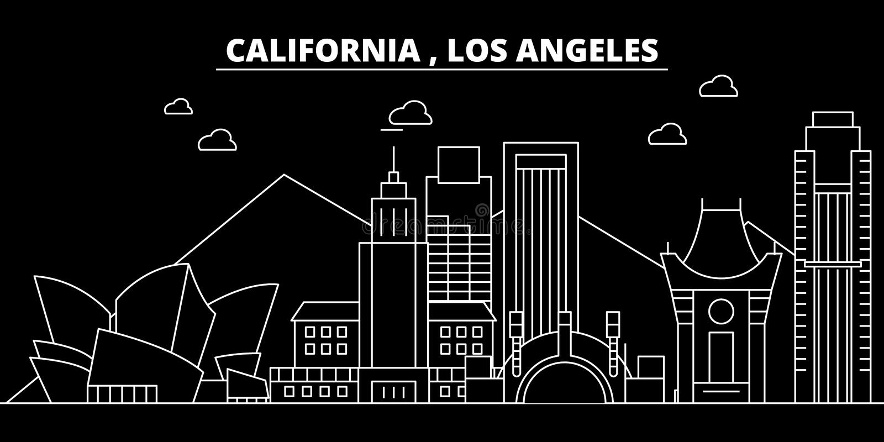 Het silhouethorizon van Los Angeles De V.S. - De vectorstad van Los Angeles, Amerikaanse lineaire architectuur, gebouwen Los Ange royalty-vrije illustratie