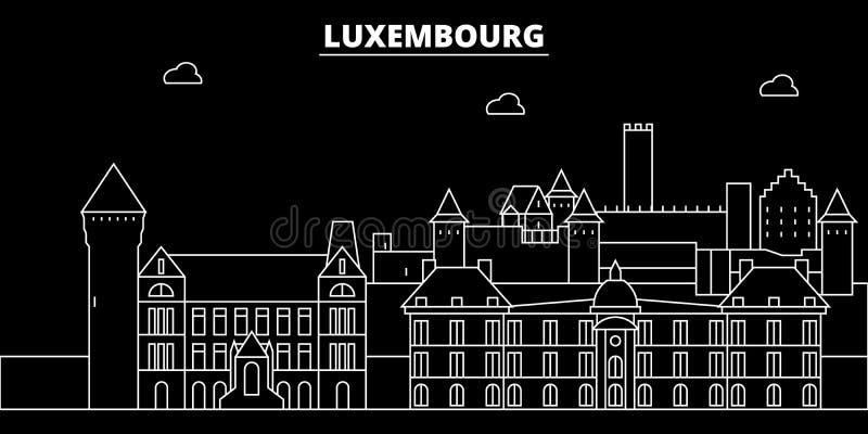 Het silhouethorizon van Luxemburg, vectorstad, Luxemburgse lineaire architectuur, gebouwen De reisillustratie van Luxemburg stock illustratie
