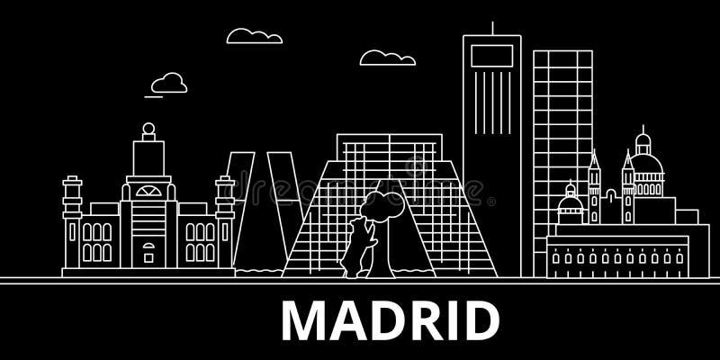 Het silhouethorizon van Madrid De vectorstad van Spanje - van Madrid, Spaanse lineaire architectuur, gebouwen De lijnreis van Mad vector illustratie