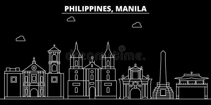 Het silhouethorizon van Manilla De vectorstad van Filippijnen - van Manilla, Filipijnse lineaire architectuur, gebouwen De reis v stock illustratie