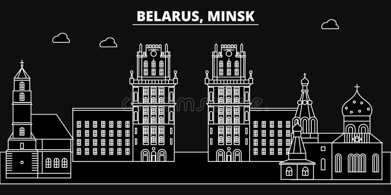 Het silhouethorizon van Minsk Belorus - de vectorstad van Minsk, Witrussische lineaire architectuur, gebouwen De reis van Minsk vector illustratie