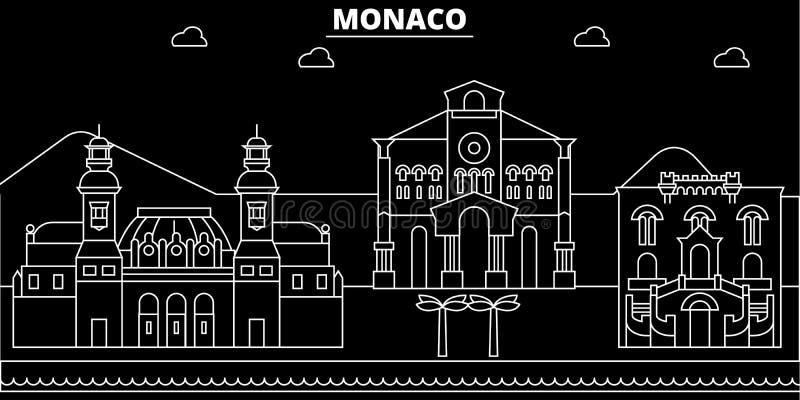 Het silhouethorizon van Monaco, vectorstad, monacan lineaire architectuur, gebouwen De reisillustratie van Monaco, overzicht vector illustratie