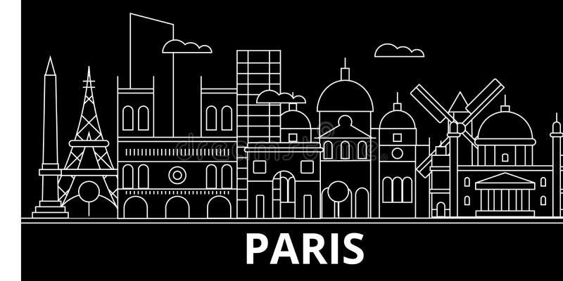 Het silhouethorizon van Parijs De vectorstad van Frankrijk - van Parijs, Franse lineaire architectuur, gebouwen De reisillustrati royalty-vrije illustratie