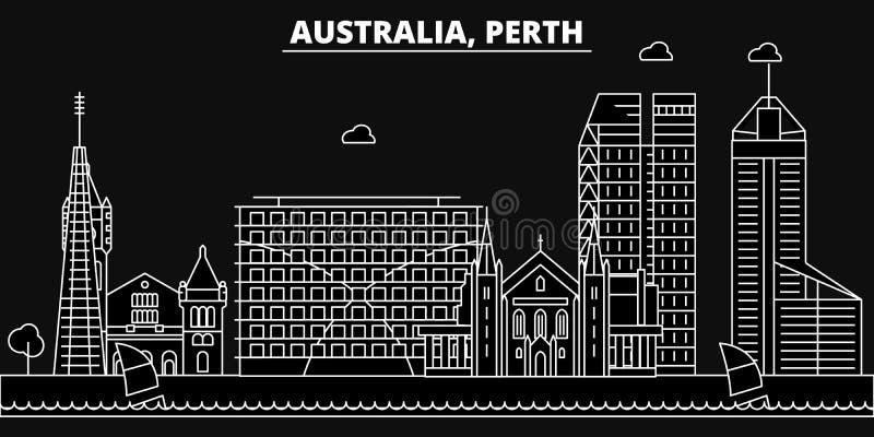 Het silhouethorizon van Perth De vectorstad van Australië - van Perth, Australische lineaire architectuur, gebouwen De reis van P royalty-vrije illustratie
