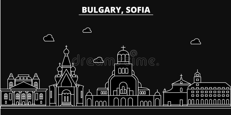 Het silhouethorizon van Sofia De vectorstad van Bulgarije - van Sofia, Bulgaarse lineaire architectuur, gebouwen De reis van Sofi vector illustratie