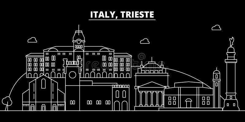 Het silhouethorizon van Triëst De vectorstad van Italië - van Triëst, Italiaanse lineaire architectuur, gebouwen De reis van Trië vector illustratie