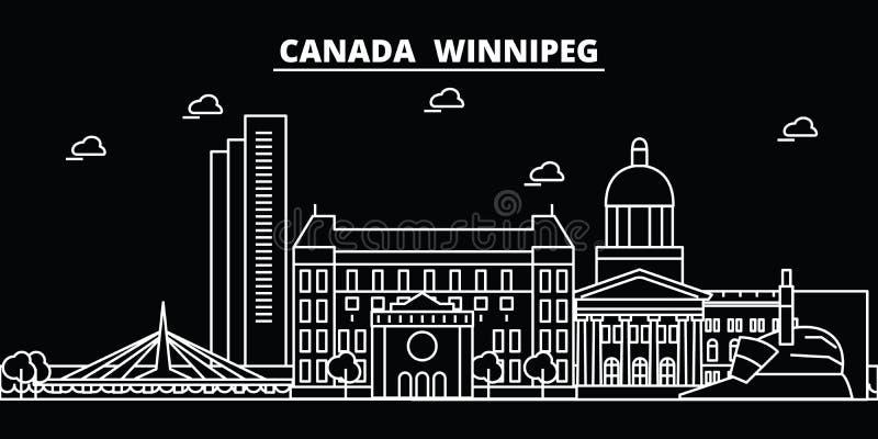 Het silhouethorizon van Winnipeg De vectorstad van Canada - van Winnipeg, Canadese lineaire architectuur, gebouwen De reis van Wi royalty-vrije illustratie
