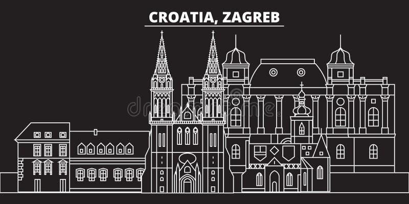 Het silhouethorizon van Zagreb De vectorstad van Kroatië - van Zagreb, Kroatische lineaire architectuur, gebouwen De lijnreis van stock illustratie