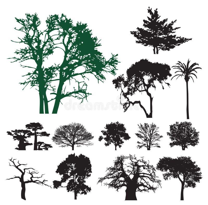 Het silhouetinzameling van de boom royalty-vrije illustratie