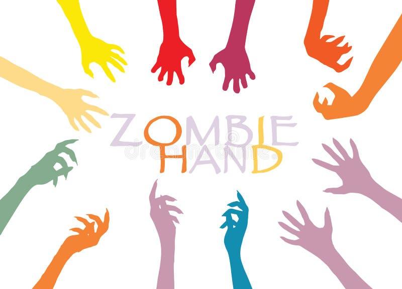 Het Silhouetklem Art Design Vector van de zombiehand royalty-vrije illustratie
