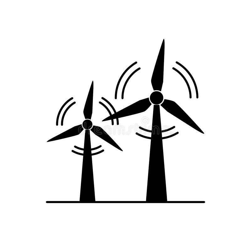 Het silhouetpictogram van de windturbine in vlakke stijl vector illustratie
