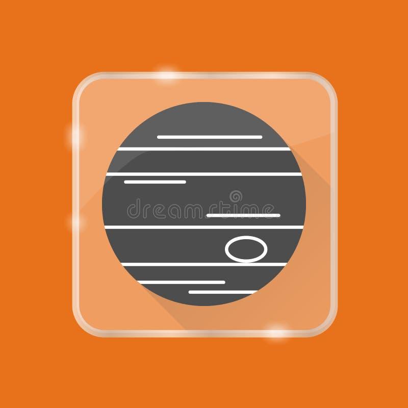 Het silhouetpictogram van planeetjupiter in vlakke stijl op transparante knoop vector illustratie