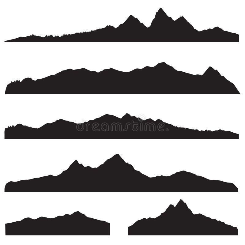 Het silhouetreeks van het bergenlandschap Hoge piekberggrens royalty-vrije illustratie