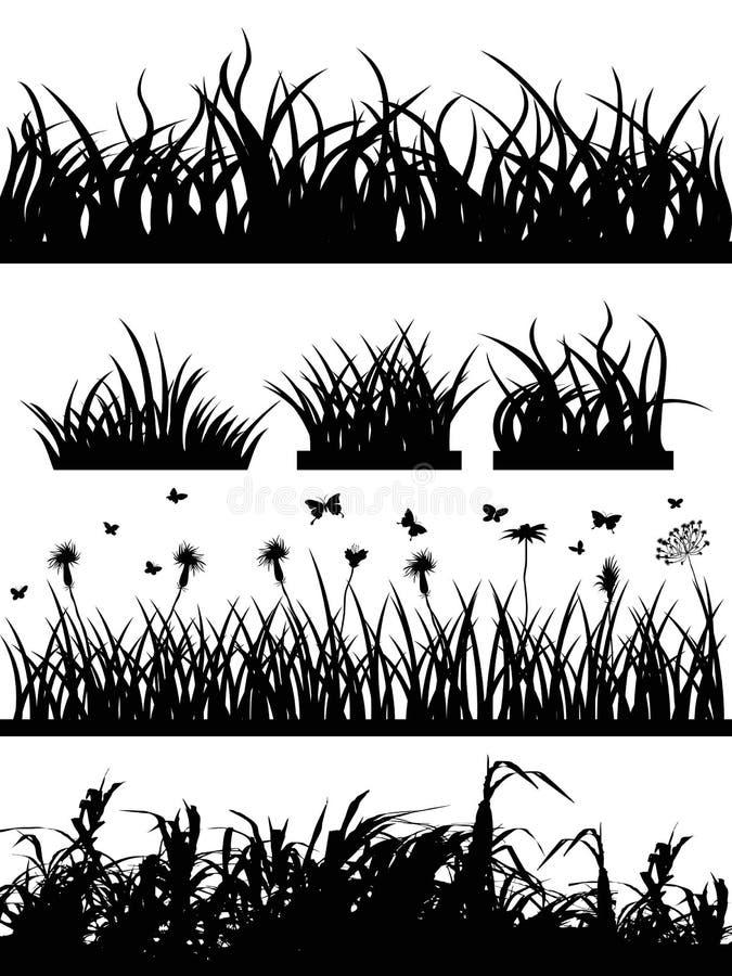 Het silhouetreeks van het gras vector illustratie