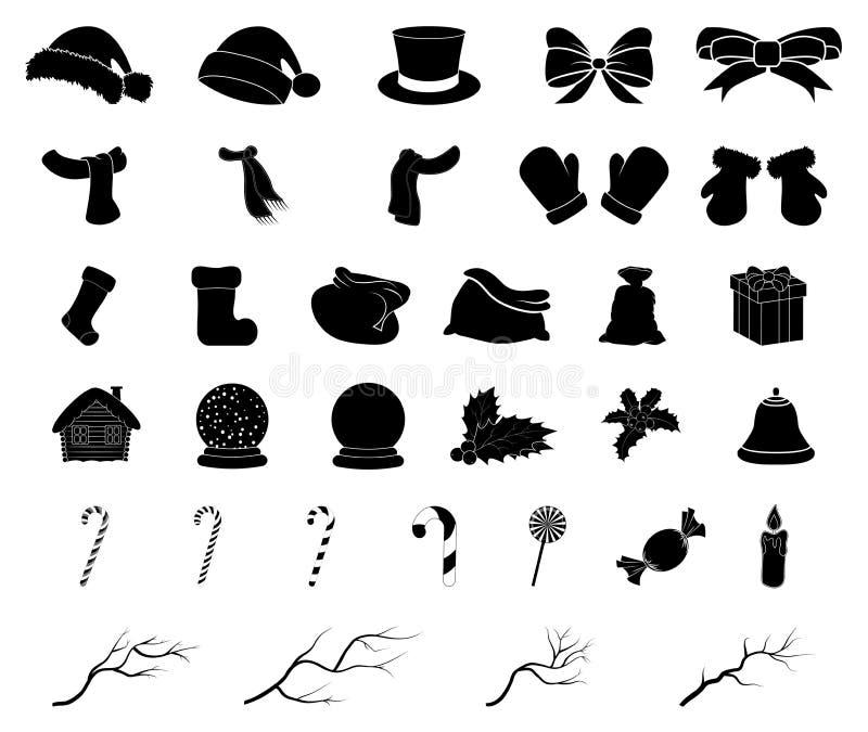 Het silhouetreeks van het Kerstmis vectorsymbool, pictogramontwerp De winterillustratie op witte achtergrond wordt geïsoleerd die vector illustratie