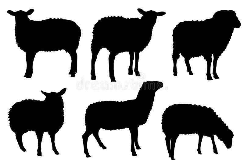 Het silhouetreeks van het schapenlam vector illustratie