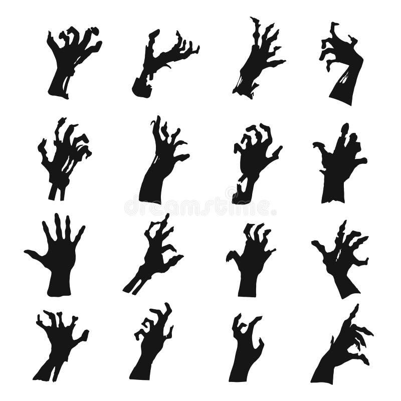 Het silhouetreeks van zombiehanden, zwart griezelig symbool royalty-vrije illustratie