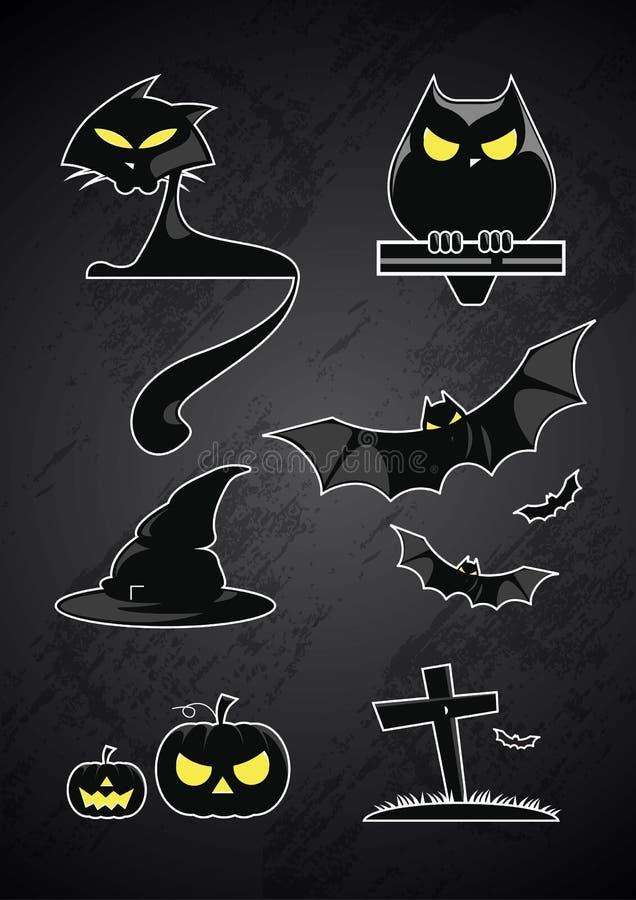 Het silhouetteglossy element van Halloween royalty-vrije stock foto's
