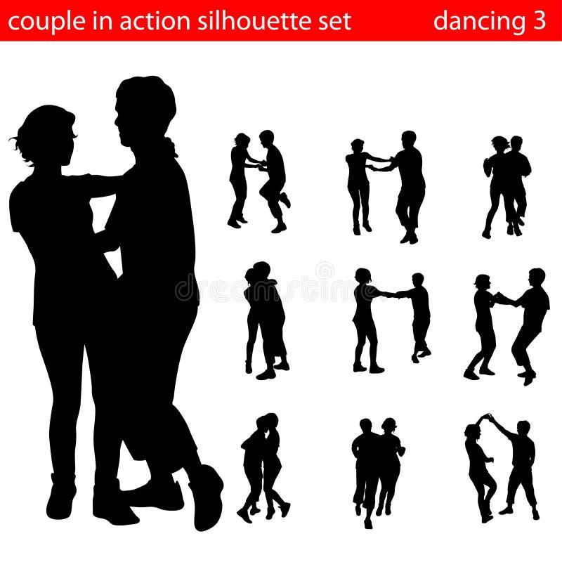 Het silhouetvector van het paar royalty-vrije illustratie