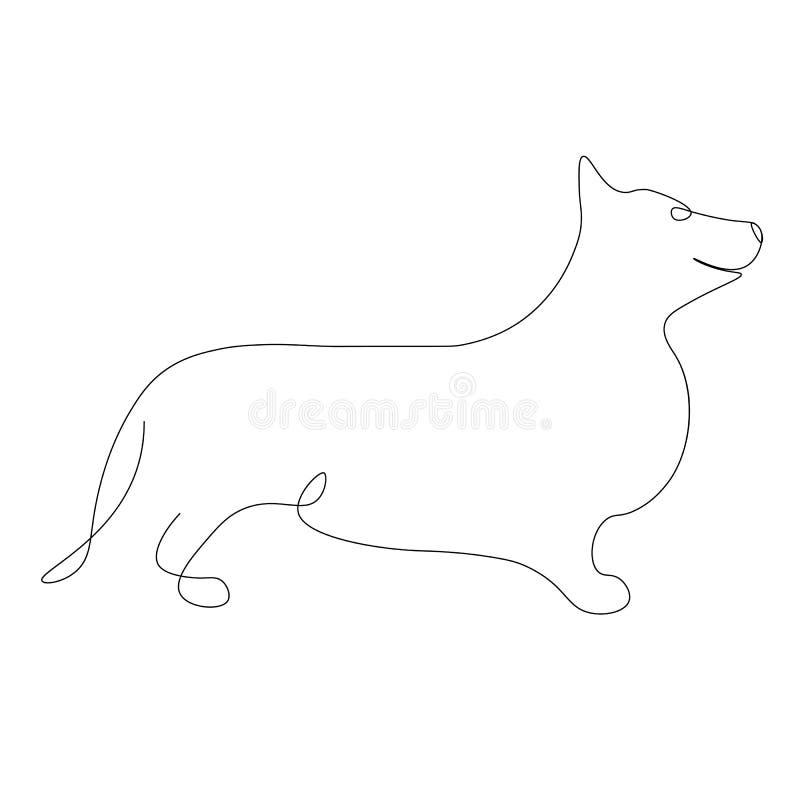 Het silhouetvector van hondcorgi royalty-vrije illustratie
