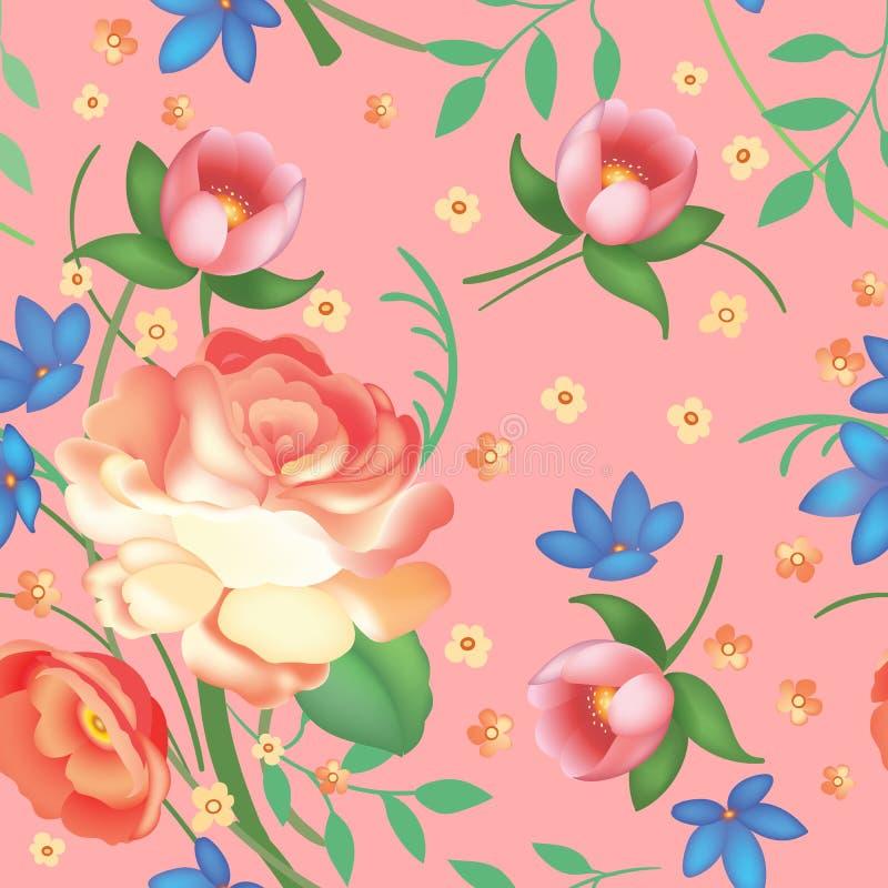 Het sjofele elegante uitstekende rozen, tulpen en vergeet-mij-nietjes uitstekende naadloze patroon, klassiek sits bloemen herhaal royalty-vrije illustratie