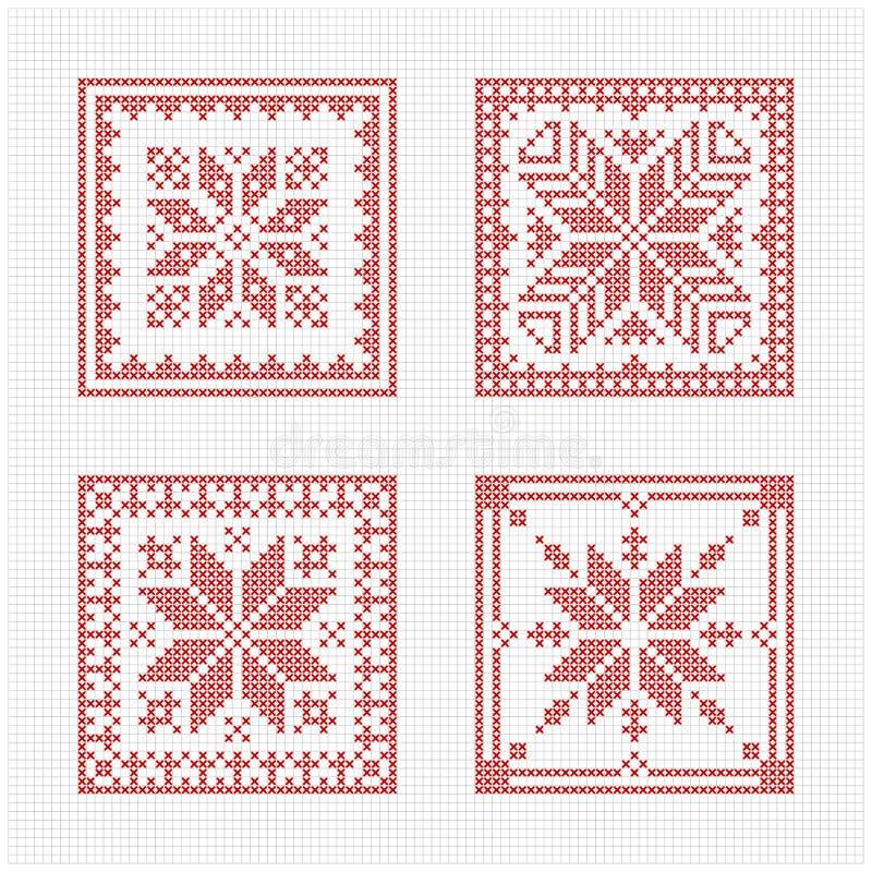 Het Skandinavische patroon van de stijl dwarssteek vector illustratie