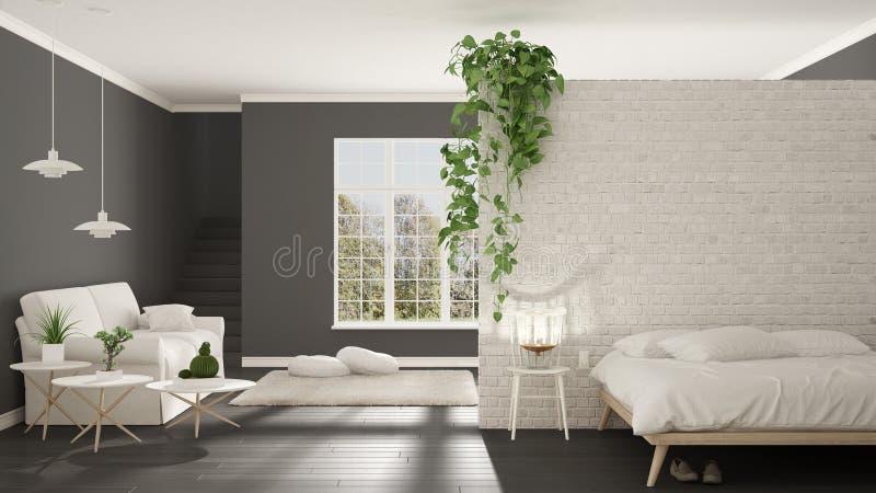 Het Skandinavische witte en grijze minimalistische leven met slaapkamer, opent royalty-vrije stock afbeeldingen
