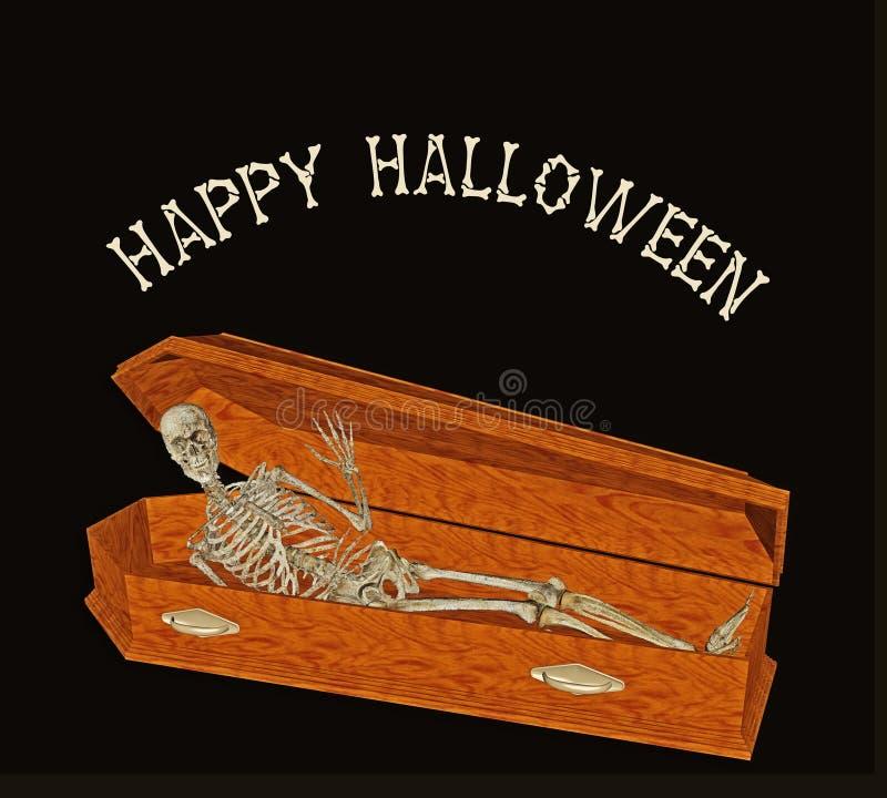 Het skelet begroet van doodskist stock illustratie