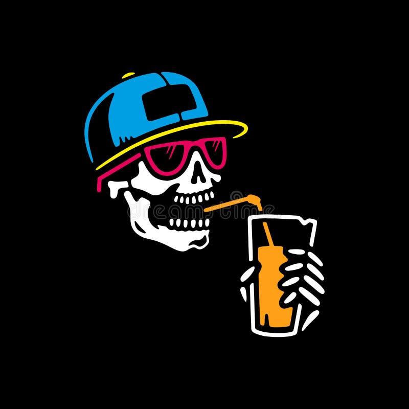 HET SKELET IN EEN GLB DRINKT VEELKLEURIGE COCKTAIL stock illustratie