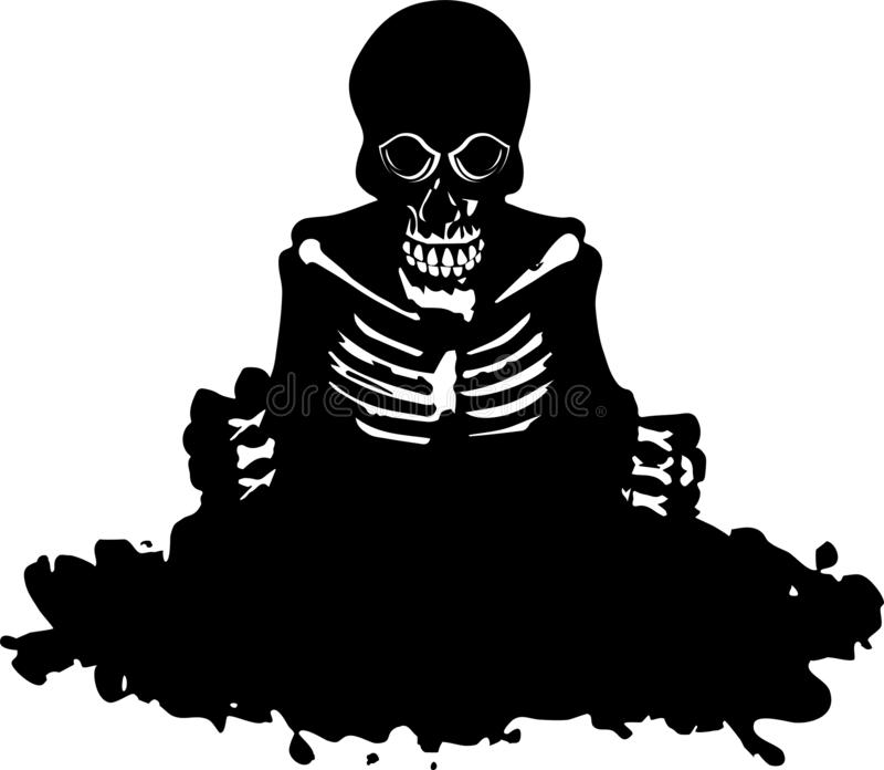 Het skelet krijgt uit het graf royalty-vrije illustratie