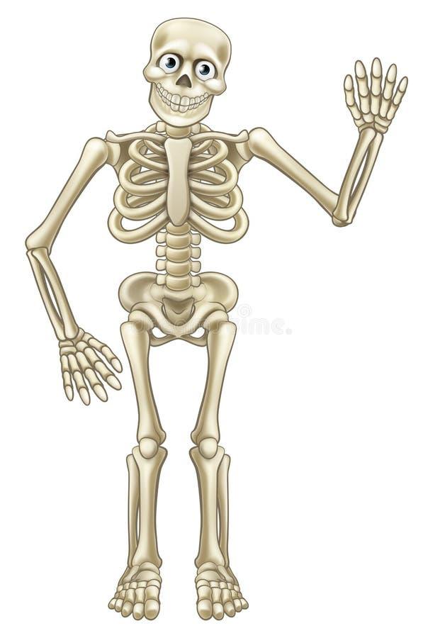 Het Skelet van beeldverhaalhalloween het Golven vector illustratie
