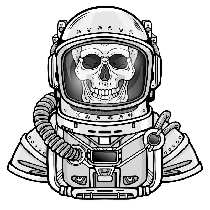 Het skelet van de animatieastronaut in een ruimtepak Zwart-wit tekening stock illustratie