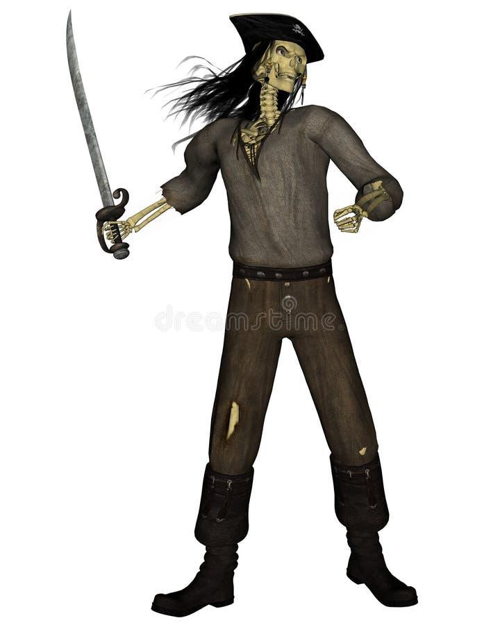 Het Skelet van de Piraat van Undead - 1 royalty-vrije illustratie