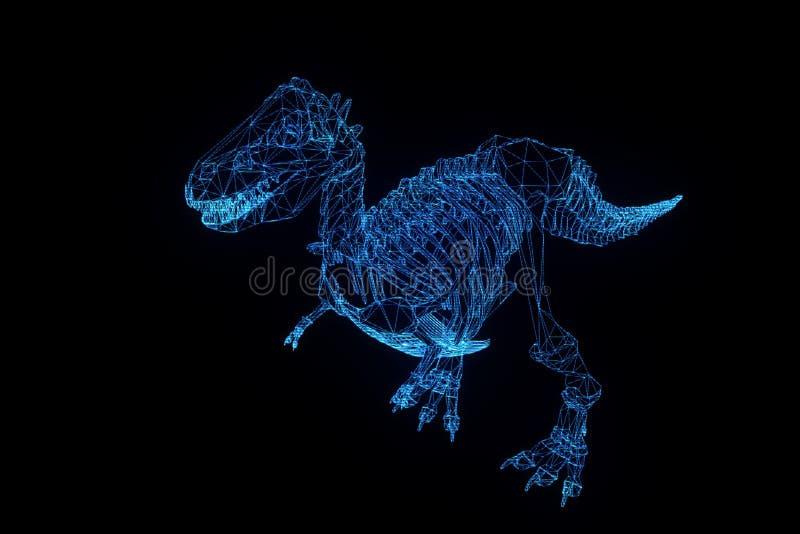 Het Skelet van dinosaurustrex in de Stijl van Hologramwireframe Het 3D Teruggeven van Nice vector illustratie