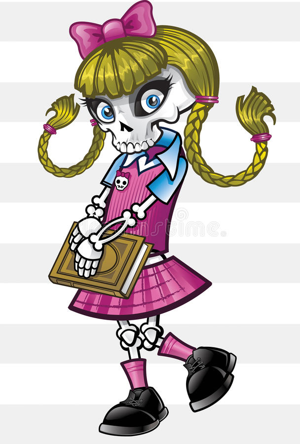 Het Skelet van het Punk rock van het Meisje van de school royalty-vrije illustratie